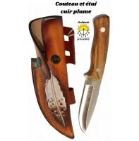 Couteau et etui cuir plume