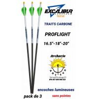 Excalibur traits arbalète carbone proflight encoche lumineuse (pack de 3)