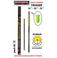 Maximal trait arbalète carbone trigger encoche plate (pack de 12)